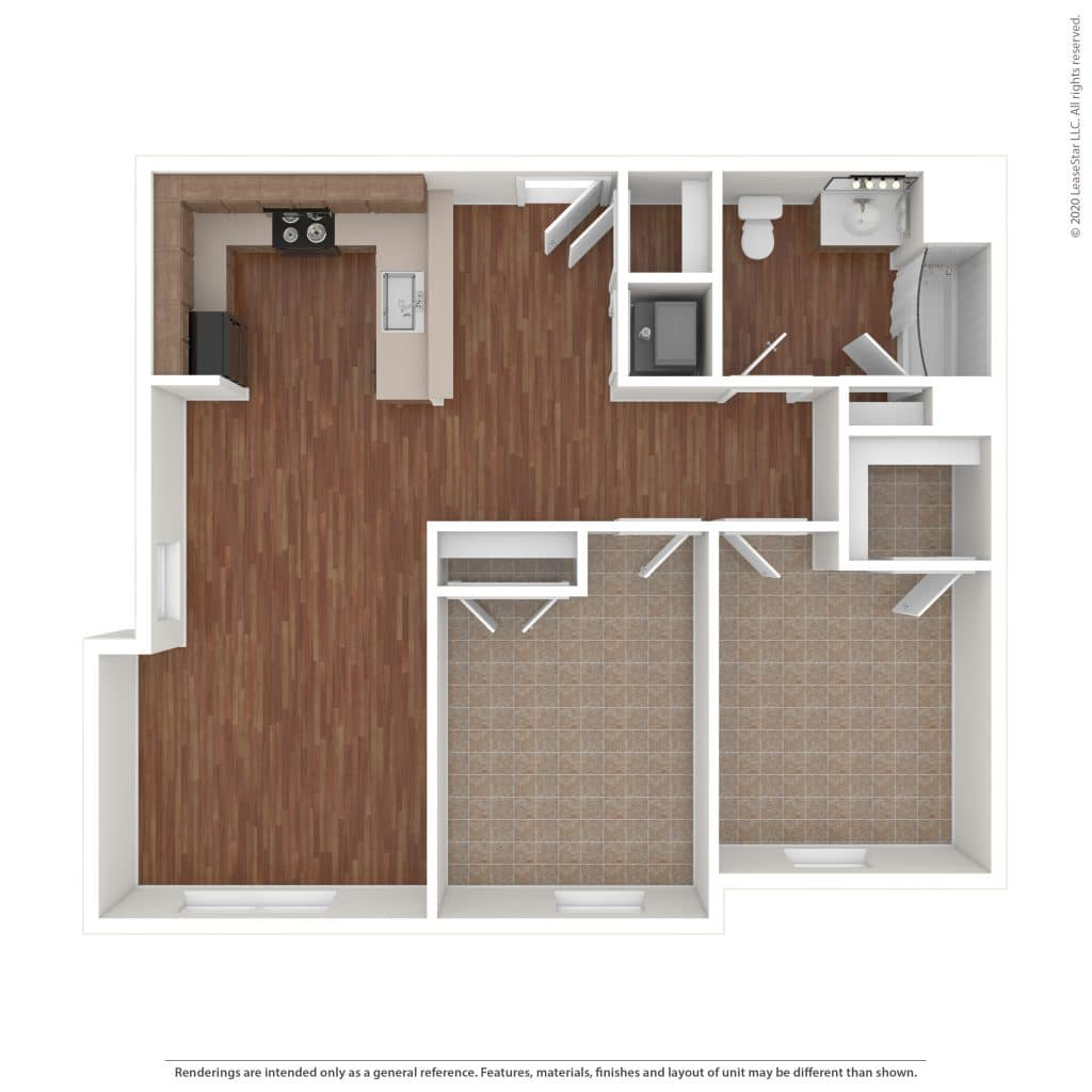 The Detrick 2 Bedroom | 1 Bath 849 sq. ft. $ Call For Pricing